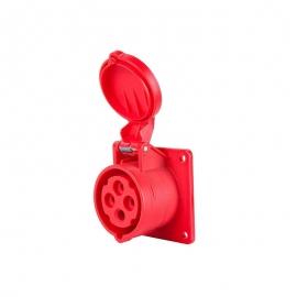 Розетка М 4х16А красная
